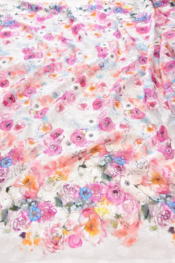 Батист с вышивкой филькупе белый с розовыми цветами (6271) - Фото 6