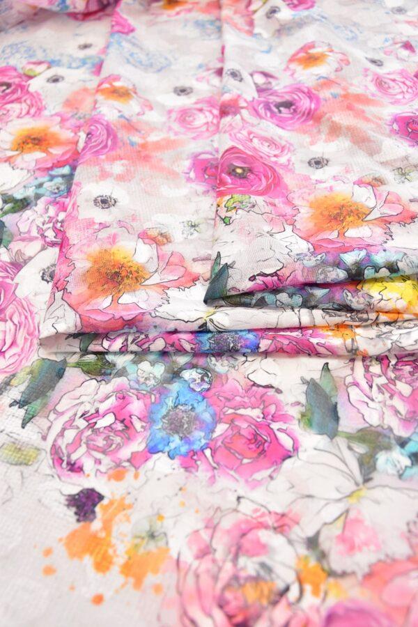 Батист с вышивкой филькупе белый с розовыми цветами (6271) - Фото 9