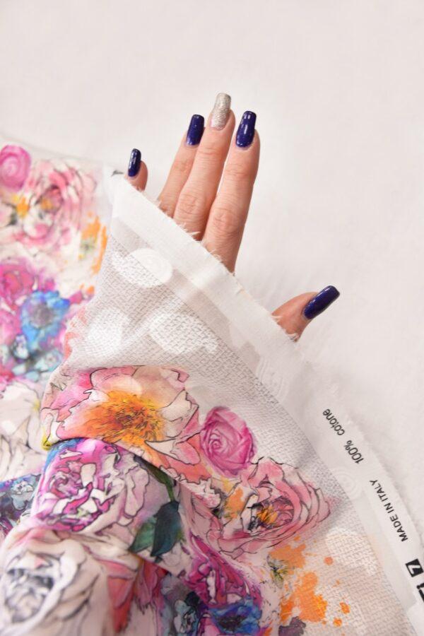 Батист с вышивкой филькупе белый с розовыми цветами (6271) - Фото 10