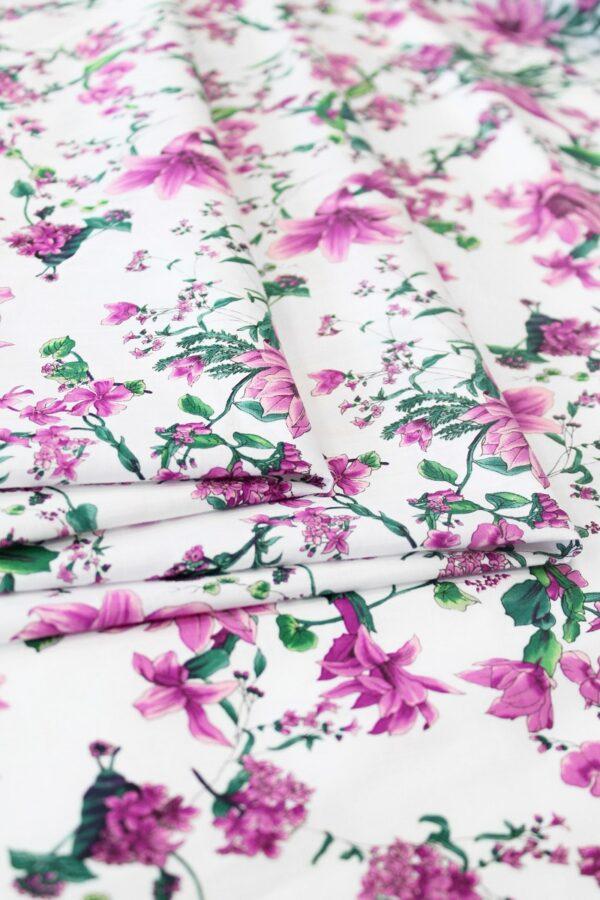 Хлопок белый с розовыми цветами (6306) - Фото 10