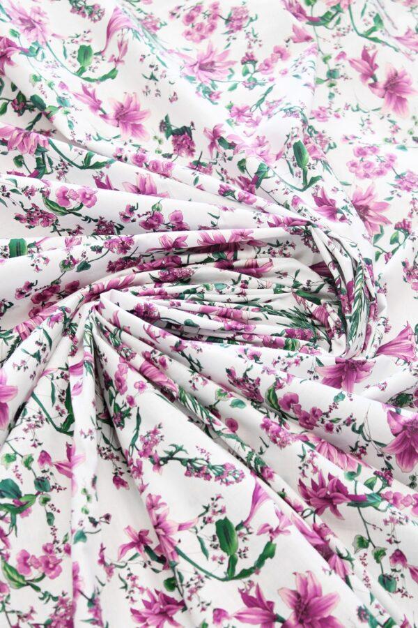 Хлопок белый с розовыми цветами (6306) - Фото 7