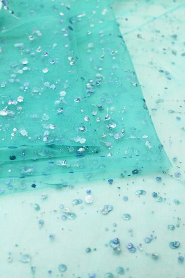 Фатин с глиттером оттенок тиффани кляксы (6341) - Фото 8