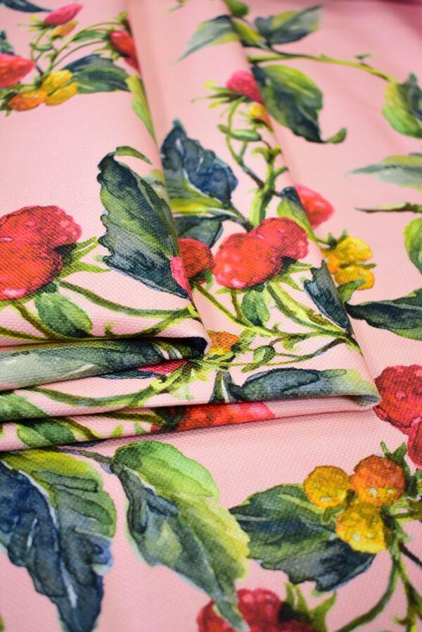 Пике лен малинки на розовом фоне (6940) - Фото 9