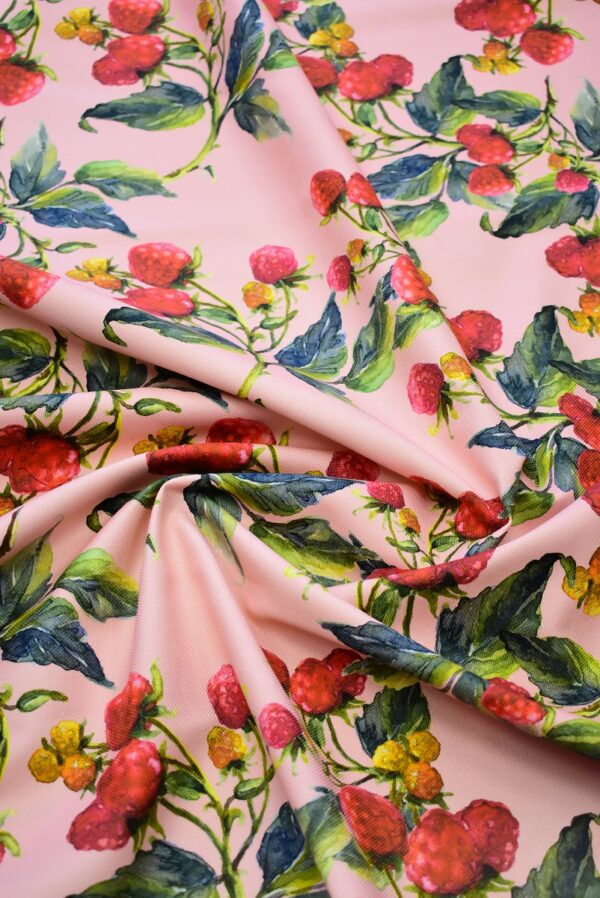 Пике лен малинки на розовом фоне (6940) - Фото 8