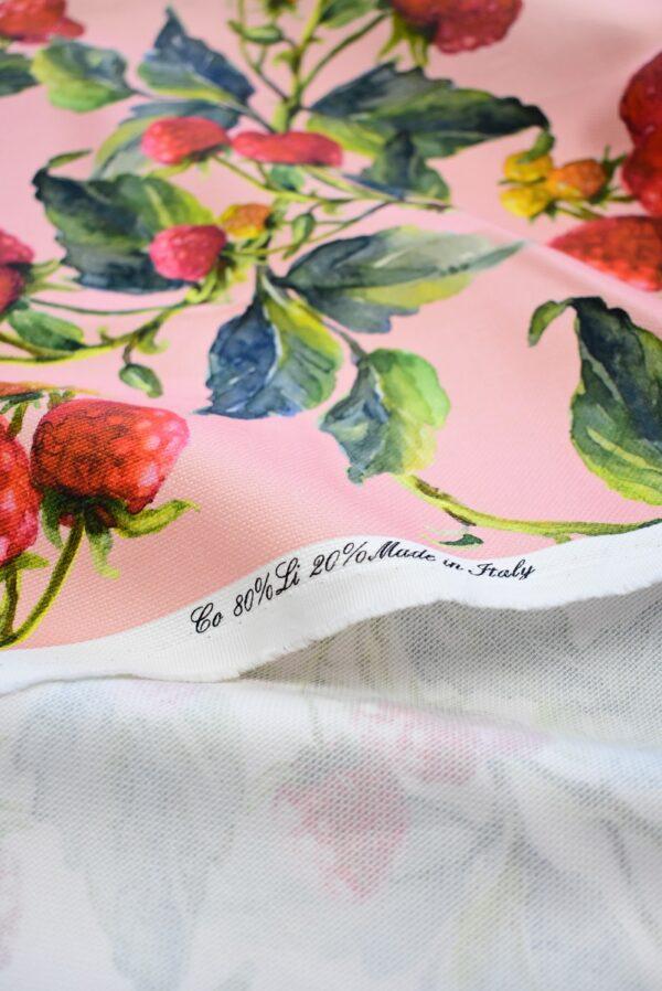 Пике лен малинки на розовом фоне (6940) - Фото 7