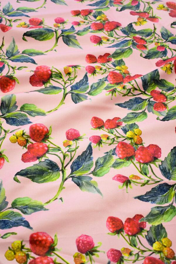 Пике лен малинки на розовом фоне (6940) - Фото 6
