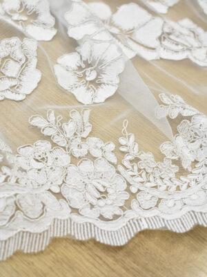 Кружево белое сутажное с крупными цветами и фестонами (7086) - Фото 15
