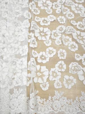 Кружево белое сутажное с крупными цветами и фестонами (7086) - Фото 14