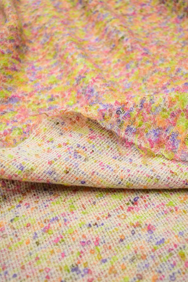 Трикотаж шерсть петелька светлый мультиколор фактурный (7134) - Фото 10