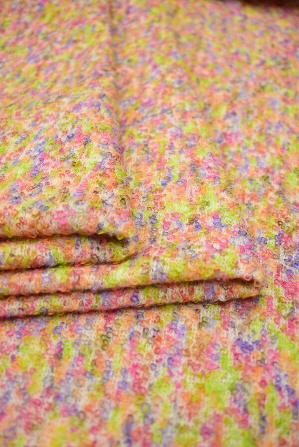 Трикотаж шерсть петелька светлый мультиколор фактурный (7134) - Фото 8