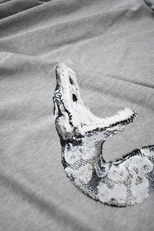 Трикотаж с купоном велюровые змеи на сером фоне (7376) - Фото 10