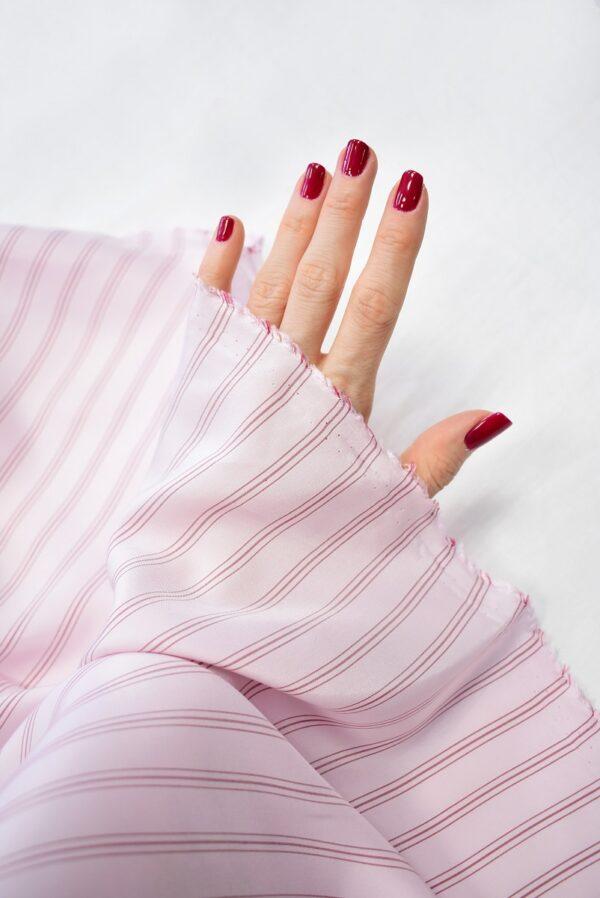 Крепдешин светло-розовый в тонкую полоску (7412) - Фото 10