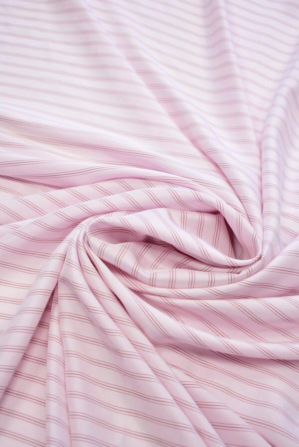 Крепдешин светло-розовый в тонкую полоску (7412) - Фото 7