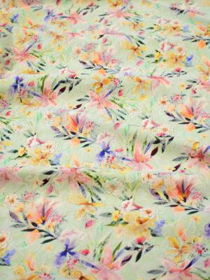 Матлассе стрейч мятный с цветами (7823) - Фото 11