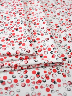 Хлопок стрейч красные серые пузырьки на белом (7878) - Фото 16