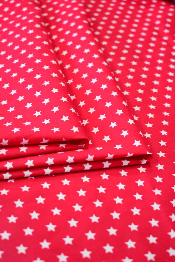 Хлопок красный с белыми звездами (8001) - Фото 7