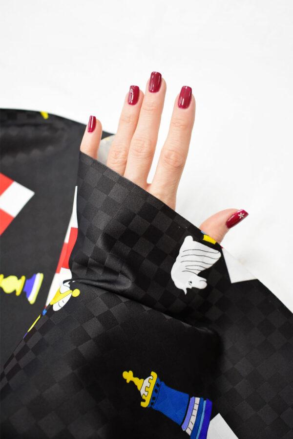 Плательная ткань черная с шахматами (8227) - Фото 7