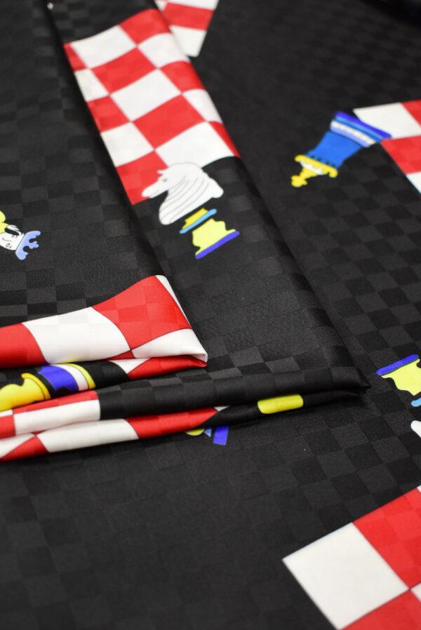 Плательная ткань черная с шахматами (8227) - Фото 9