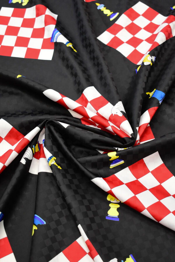 Плательная ткань черная с шахматами (8227) - Фото 8