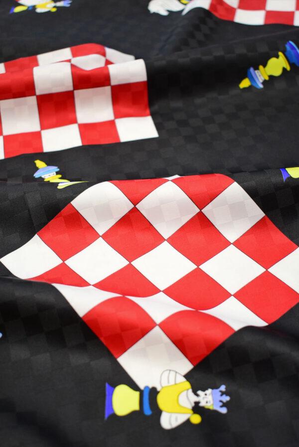 Плательная ткань черная с шахматами (8227) - Фото 10