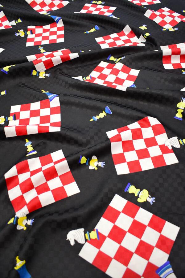 Плательная ткань черная с шахматами (8227) - Фото 6