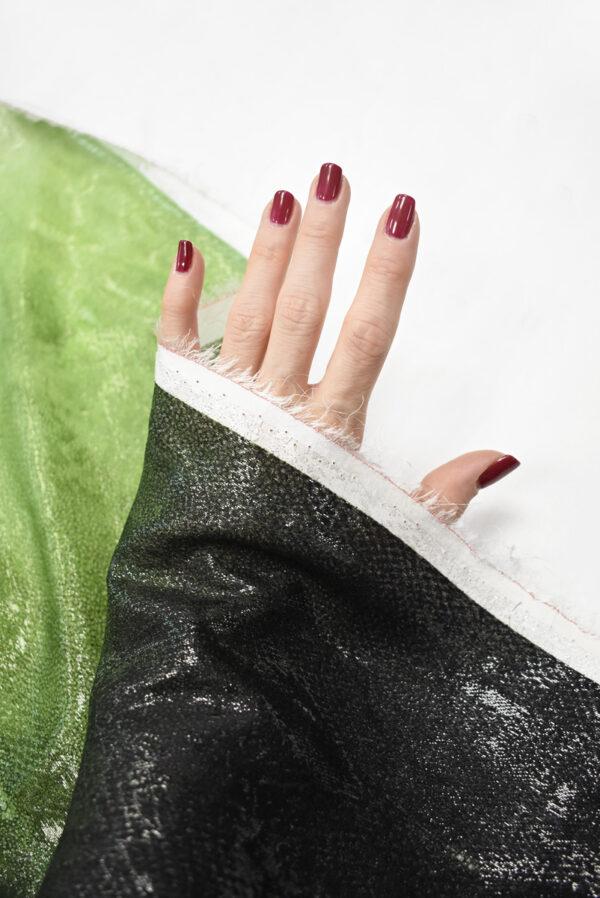 Шелк жаккардовый черный с зеленым змеиная кожа (8541) - Фото 7