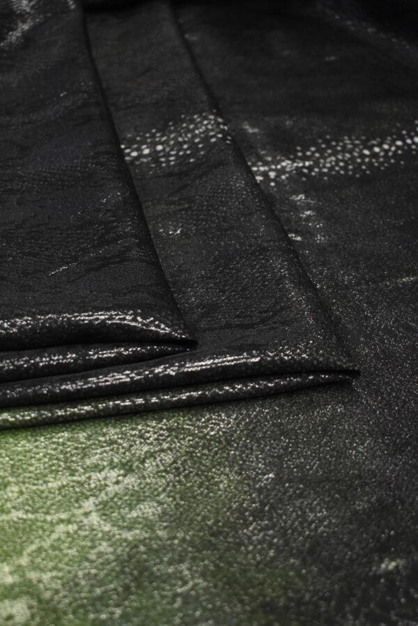Шелк жаккардовый черный с зеленым змеиная кожа (8541) - Фото 9