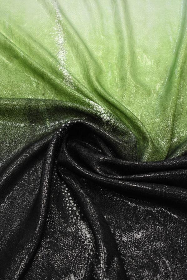 Шелк жаккардовый черный с зеленым змеиная кожа (8541) - Фото 8
