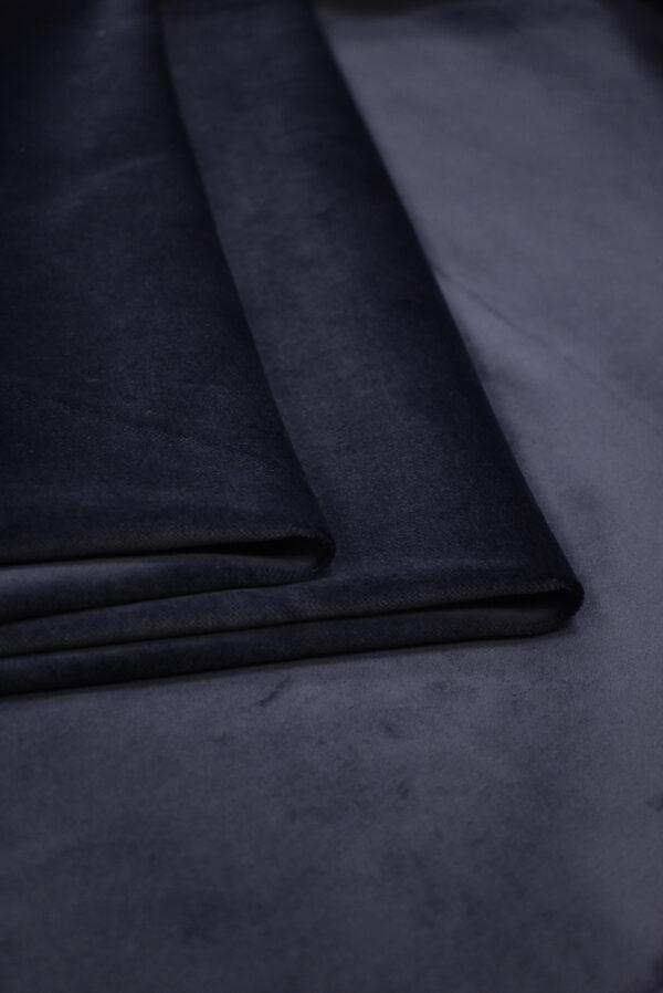 Бархат стрейч хлопковый темно-синий (8762) - Фото 9