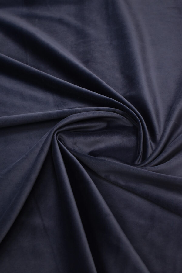 Бархат стрейч хлопковый темно-синий (8762) - Фото 8