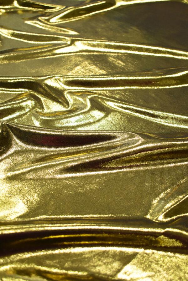 Трикотаж золотой с глянцевым блеском (8966) - Фото 6