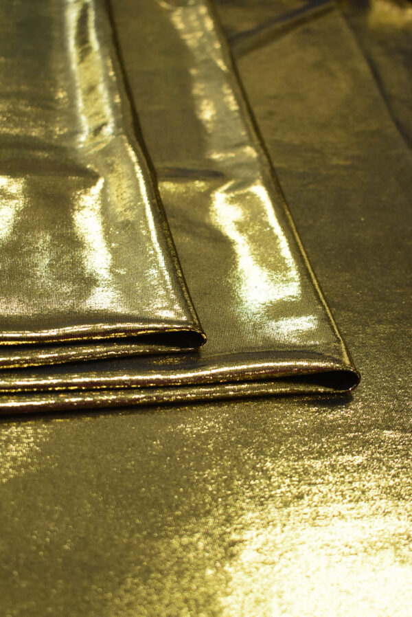 Трикотаж золотой с глянцевым блеском (8966) - Фото 9