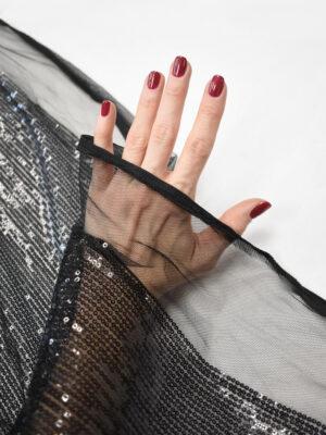 Пайетки черные на мягкой сетке (8981) - Фото 15