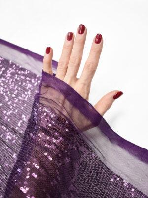 Пайетки фиолетовые на мягкой сетке (8983) - Фото 13