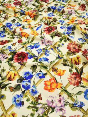 Шерсть плательная светло-бежевая с цветами и ящерицами (8993) - Фото 18