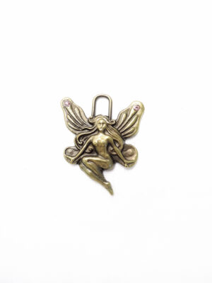 Подвеска металл бронза женщина ангел розовые стразы