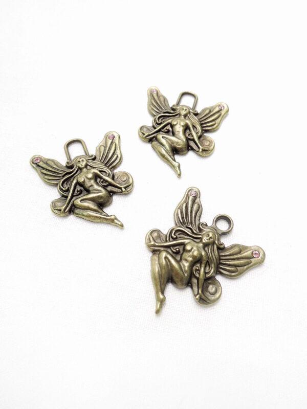 Подвеска металл бронза женщина ангел розовые стразы 3