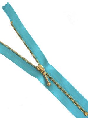 Молния атласная небесно-голубая металл золото 18 см (M0776) - Фото 10