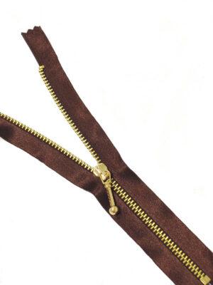 Молния атласная шоколад металл золото 18 см (M0778) - Фото 15