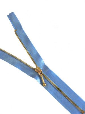Молния атласная голубая металл золото 18 см (M0784) - Фото 14