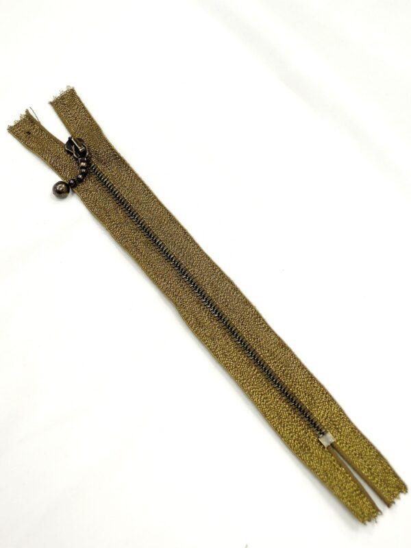 Молния металл, AM, слайдер Kuke, на люрексной тесьме, 4 мм, неразъёмная, 18 см, цвет тесьмы 3280, бронза