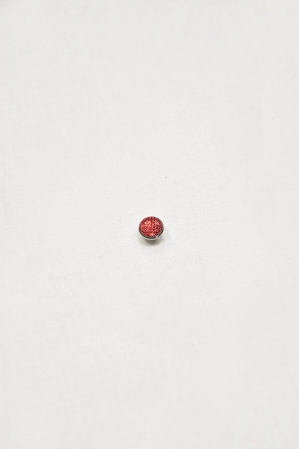 Пуговица маленькая серебро с малиновым кристаллом обтянутым сеточкой (p0852) - Фото 6