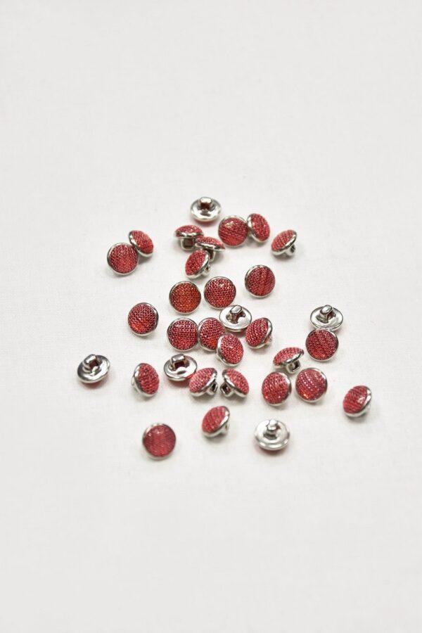 Пуговица маленькая серебро с малиновым кристаллом обтянутым сеточкой (p0852) - Фото 8