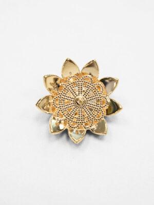 Пуговица декоративная ромашка металл золото черная с хрусталем (p0882) - Фото 15