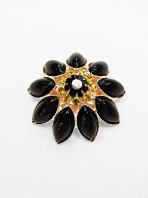 Пуговица декоративная ромашка металл золото черная с хрусталем (p0882) - Фото 14