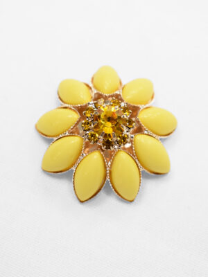 Пуговица декоративная ромашка желтая металл пластик с хрусталем (p0883) - Фото 13