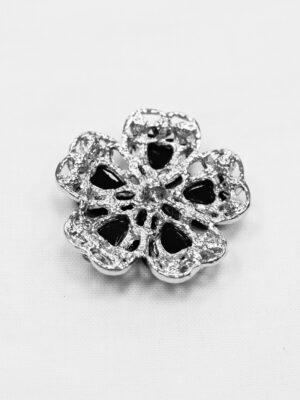 Пуговица металл серебро черный цветок со стразами (p0890) - Фото 13