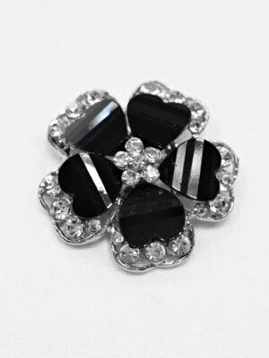 Пуговица металл серебро черный цветок со стразами (p0890) - Фото 12