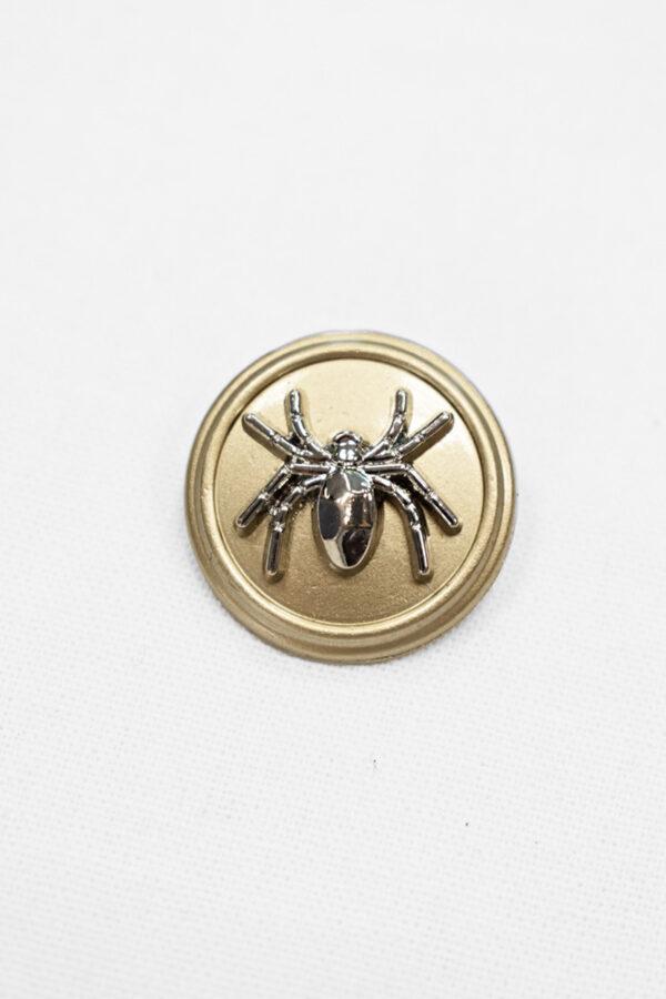 Пуговица металл беж с серебряным пауком (p0891) к20 - Фото 6