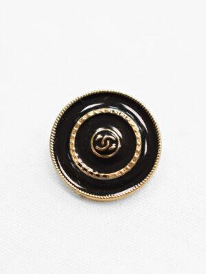 Пуговица металл золото черная эмаль символ бесконечности золотая окантовка (p0902) - Фото 11
